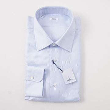 Barba Cotton Shirt in Woven Sky Blue and White