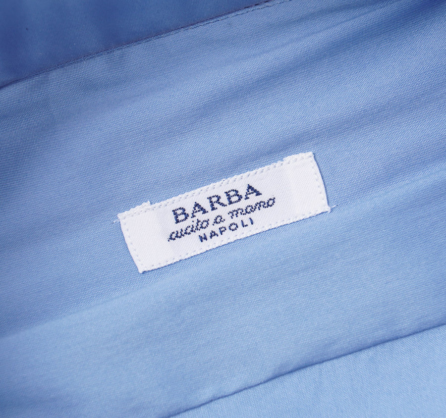 Barba Cotton Shirt in Medium Blue Solid