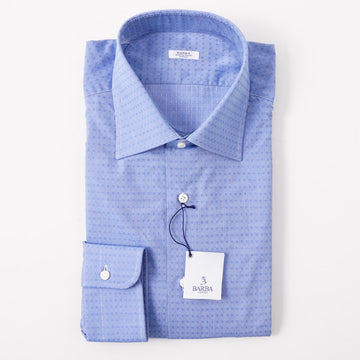 Barba Cotton Shirt in Blue Floral Jacquard