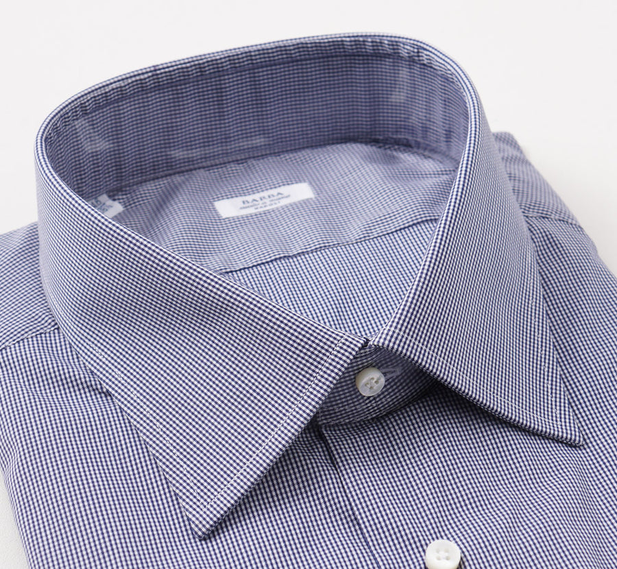 Barba Cotton Shirt in Navy Blue Micro Check