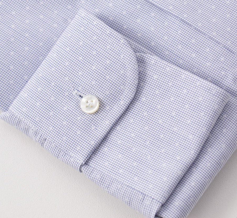 Barba Cotton Shirt in Blue and White Micro Jacquard