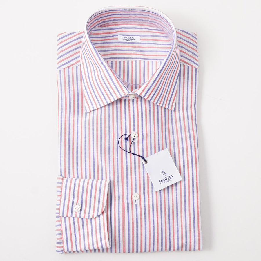 Barba Cotton-Linen Shirt in Blue and Red Stripe