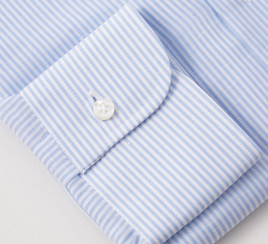 Barba Cotton-Linen Shirt in Sky Blue and White Stripe