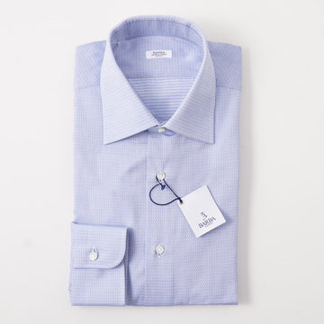Barba Cotton Shirt in Sky Blue Diamond Jacquard