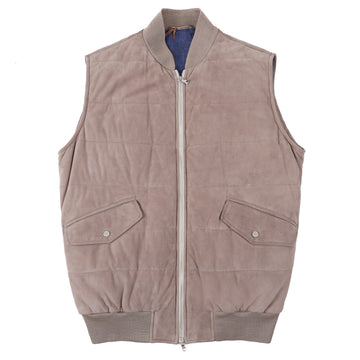 Barba Napoli Quilted Lambskin Suede Vest - Top Shelf Apparel