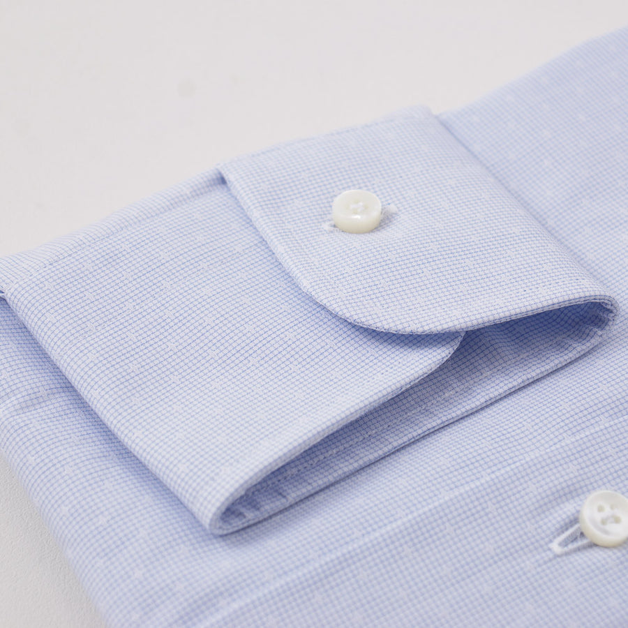 Barba Cotton Shirt in Sky Blue Micro Jacquard - Top Shelf Apparel