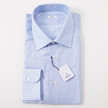 Barba Cotton Shirt in Sky Blue Stripe