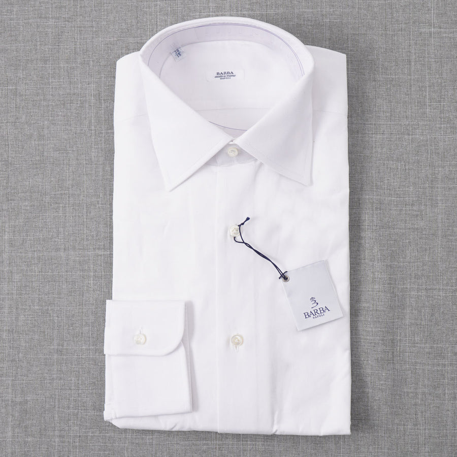Barba Cotton Shirt in White Floral Jacquard