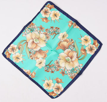 Battisti Turquoise Floral Silk Pocket Square - Top Shelf Apparel - 1