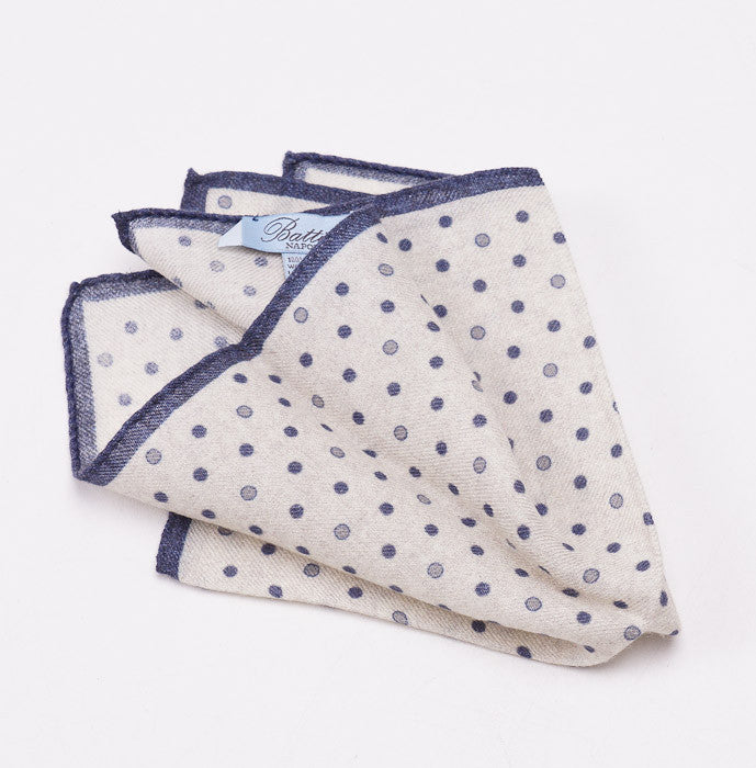 Battisti Ivory-Blue Dot Wool Pocket Square - Top Shelf Apparel