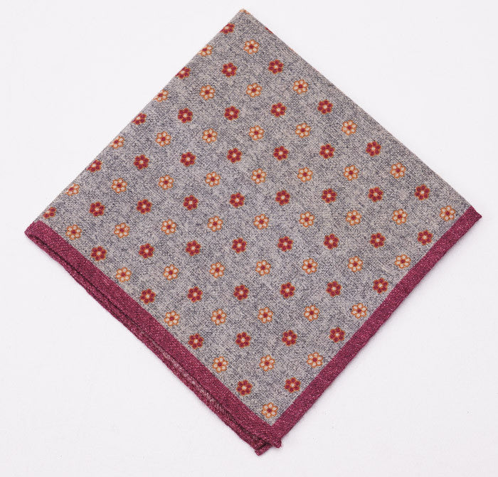 Battisti Gray Floral Wool Pocket Square - Top Shelf Apparel - 2