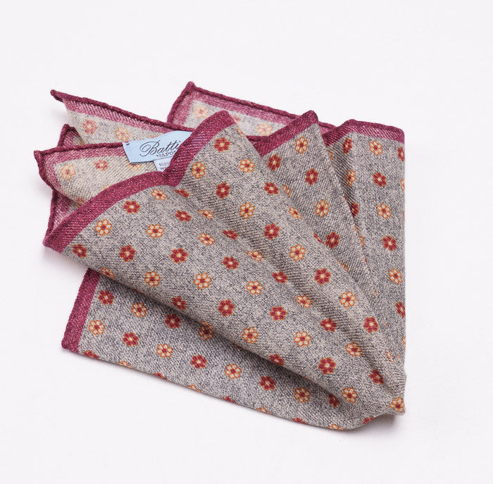 Battisti Gray Floral Wool Pocket Square - Top Shelf Apparel - 1