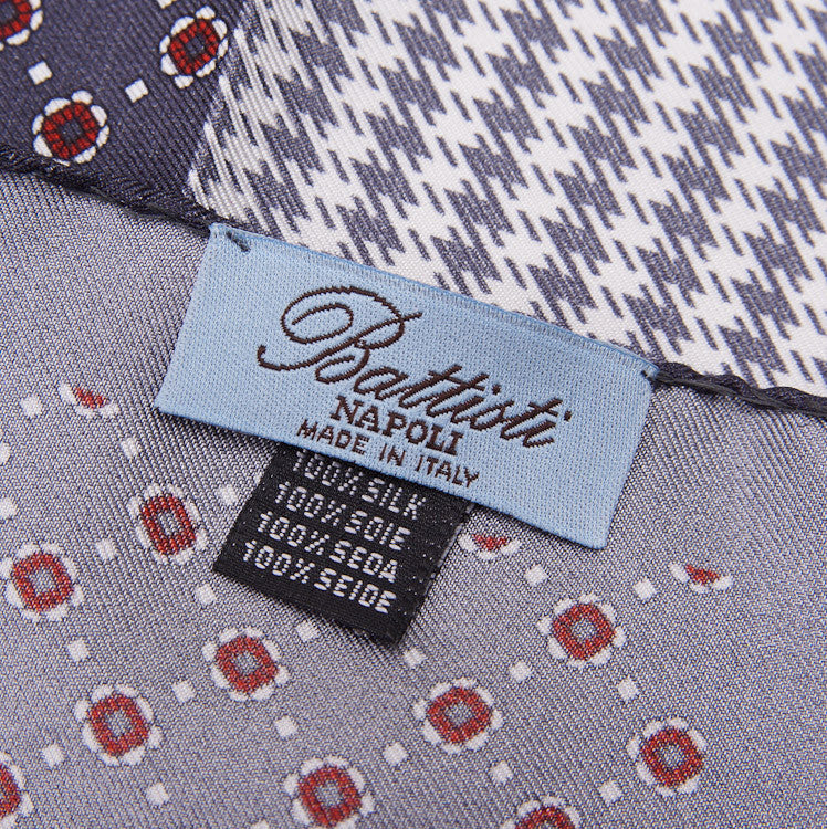 Battisti Charcoal Multi-Print Pocket Square - Top Shelf Apparel - 4