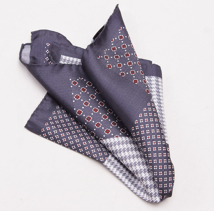Battisti Charcoal Multi-Print Pocket Square - Top Shelf Apparel - 5