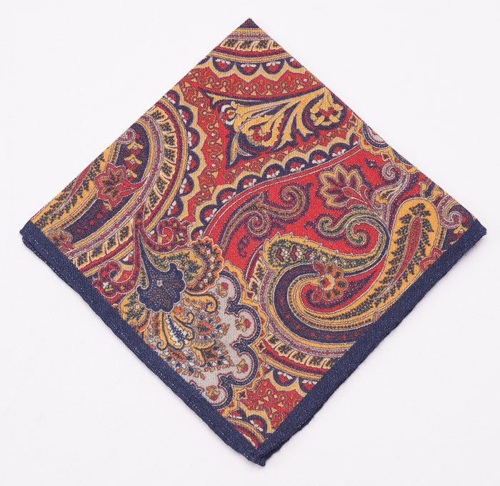 Battisti Navy-Red-Gold Paisley Wool Pocket Square - Top Shelf Apparel - 1