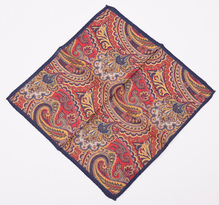 Battisti Navy-Red-Gold Paisley Wool Pocket Square - Top Shelf Apparel - 2