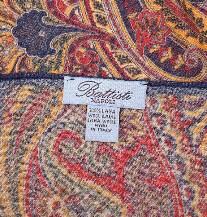 Battisti Navy-Red-Gold Paisley Wool Pocket Square - Top Shelf Apparel