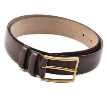 Brioni Smooth Brown Calf Leather Belt