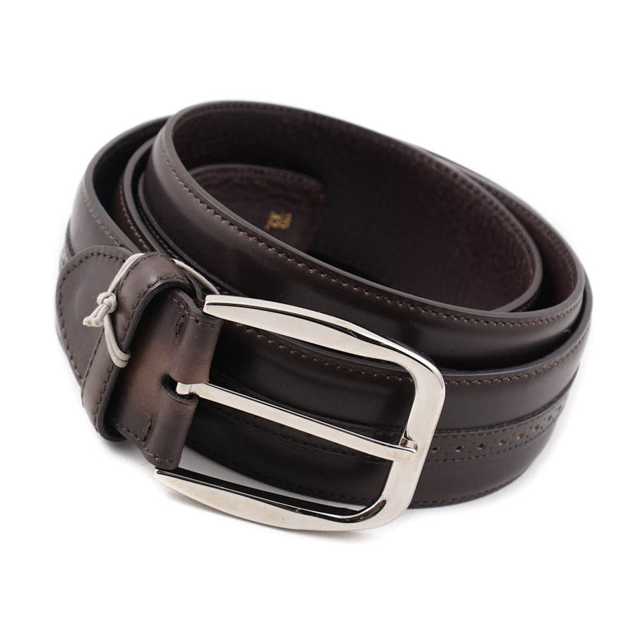 Brioni Brown Leather Belt with Brogue Detail