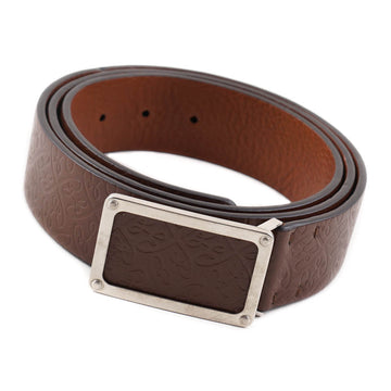 Brioni Brown Leather Belt with Monogram Design