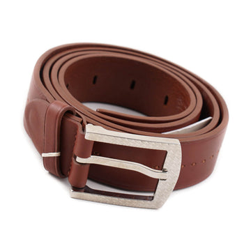 Brioni Brown Leather Belt with Monogram Buckle