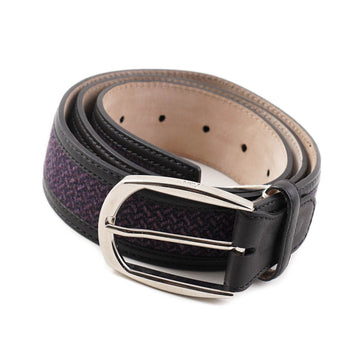 Brioni Black Leather Belt with Textile Detail