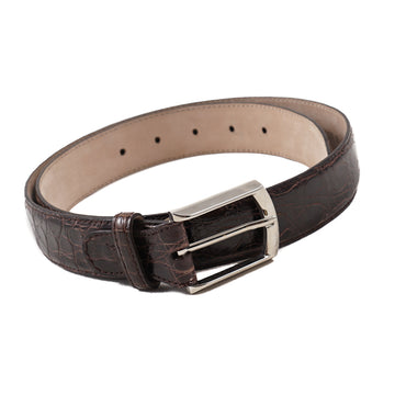 Brioni Crocodile Belt in Dark Brown