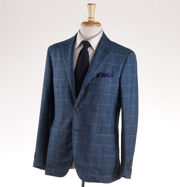 Belvest Blue-Green Check Wool-Silk Suit