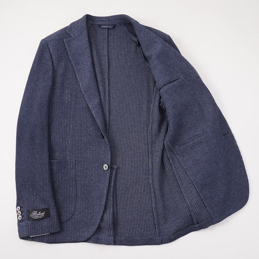 Belvest Navy Blue Knit Cotton Sport Coat - Top Shelf Apparel