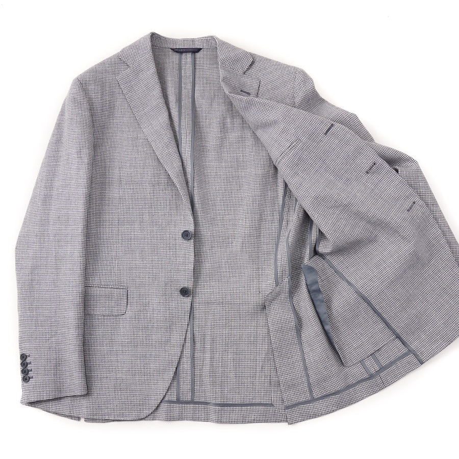 Belvest Blue Houndstooth Linen-Cotton Sport Coat - Top Shelf Apparel