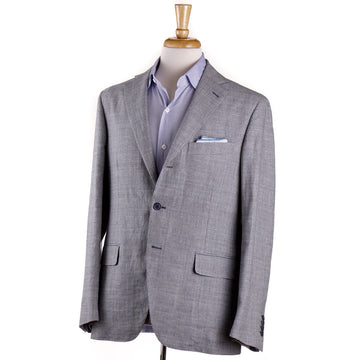Belvest Blue Houndstooth Linen-Cotton Sport Coat