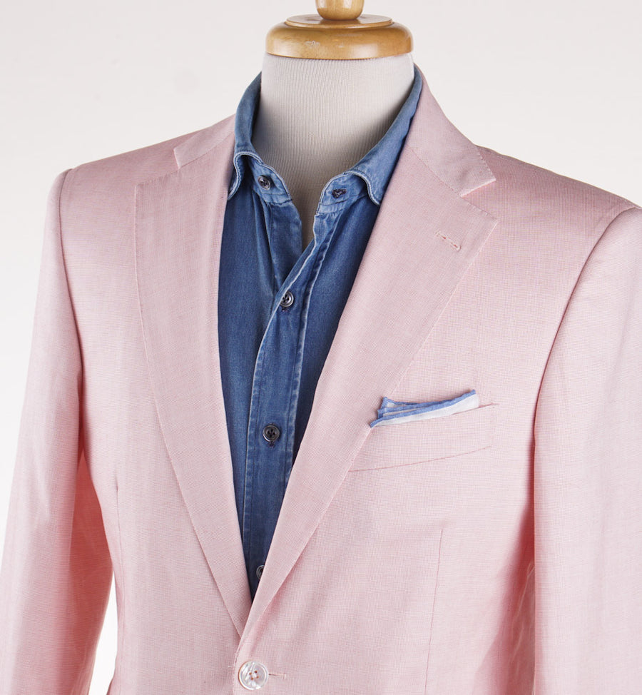 Belvest Pinpoint Cotton Sport Coat in Pink - Top Shelf Apparel