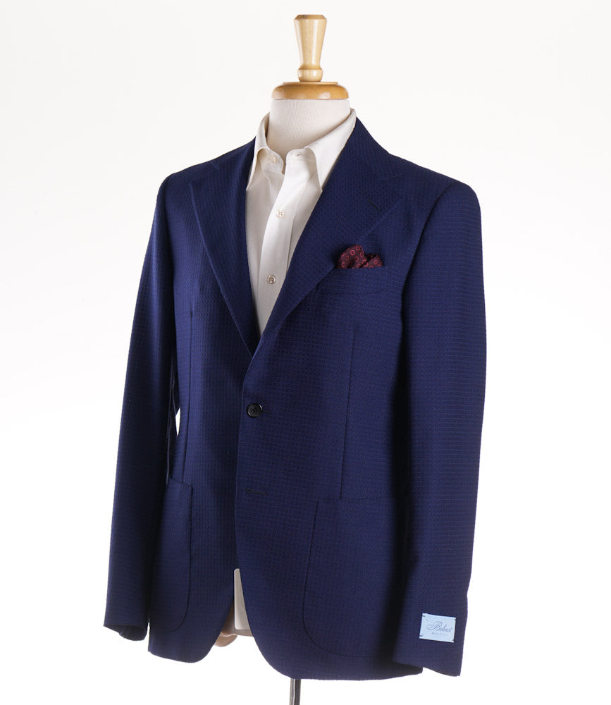 Belvest Patterned Blue Wool-Silk Sport Coat