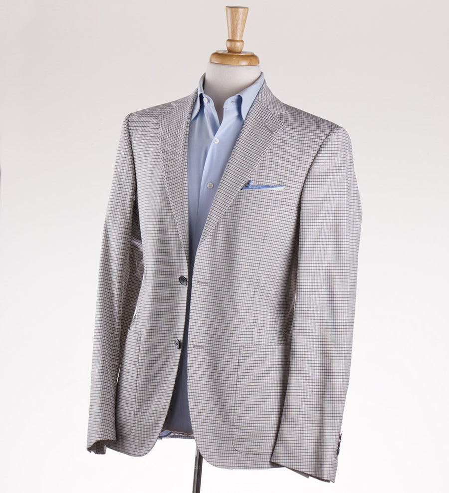Belvest Beige Check Cotton Suit