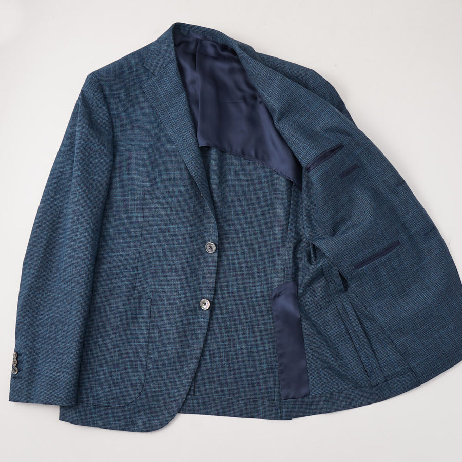 Belvest Blue-Green Houndstooth Wool-Silk Suit - Top Shelf Apparel