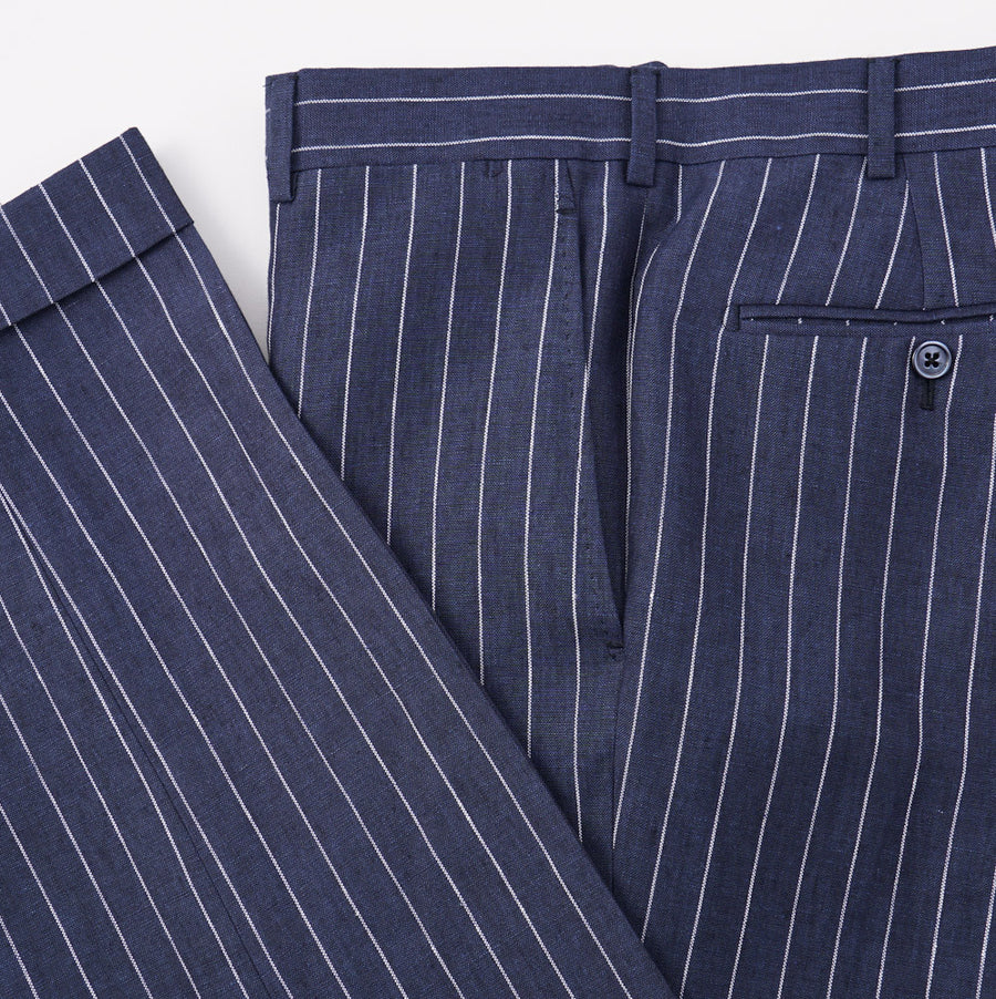 Belvest Dark Blue Striped Linen Suit