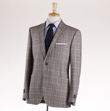Belvest Brown-Turquoise Check Wool-Silk Suit
