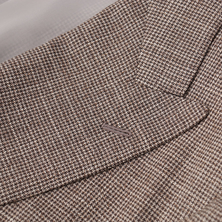 Belvest Brown Houndstooth Check Wool-Silk Suit