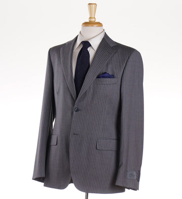 Belvest Medium Gray Striped Wool Suit