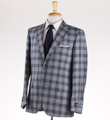 Belvest Gray Check Lightweight Silk and Linen Suit