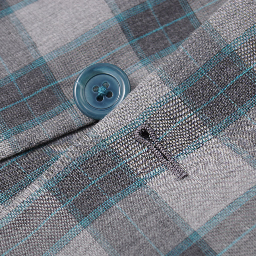 Belvest Gray Check Lightweight Silk and Linen Suit - Top Shelf Apparel