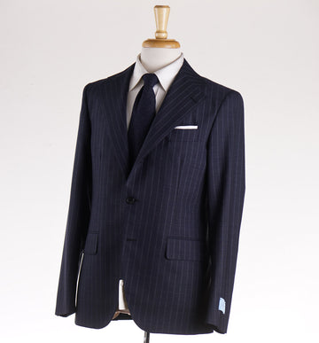 Belvest Ink Blue Striped Wool Suit