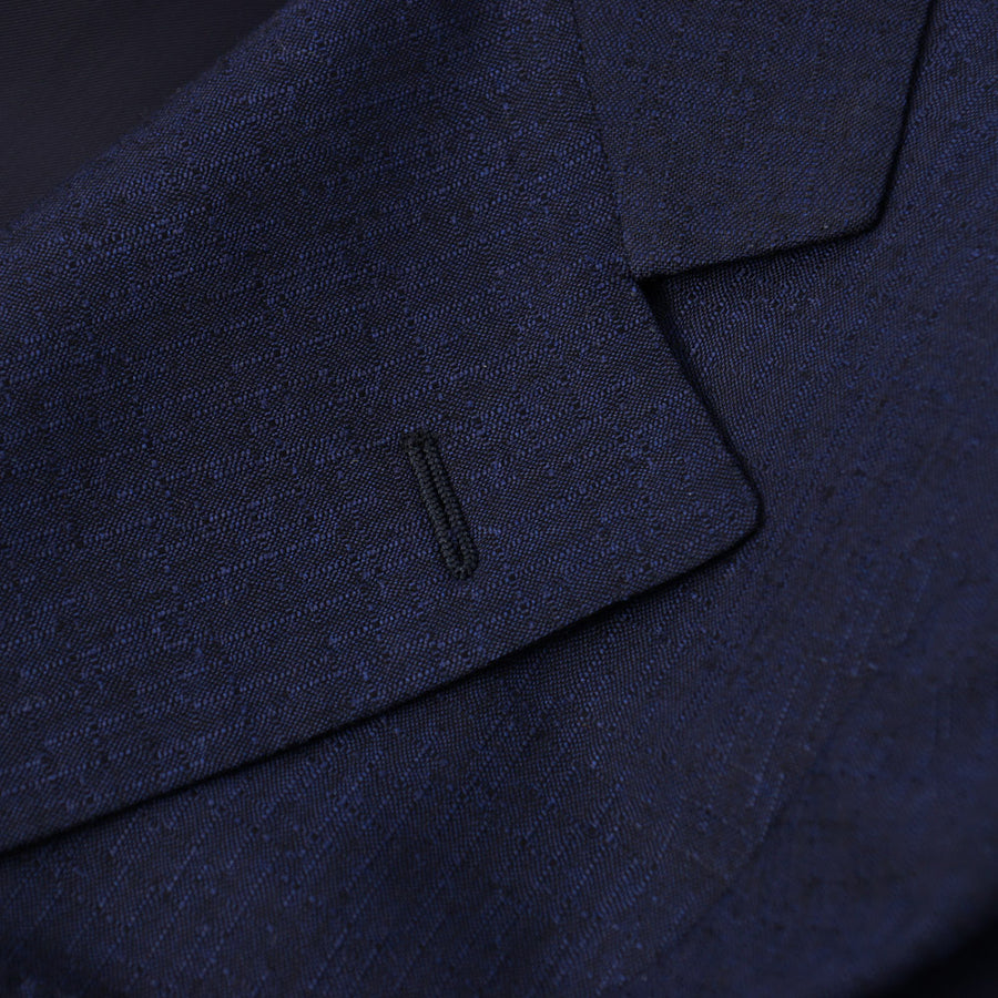 Belvest Navy Patterned Wool and Silk Suit