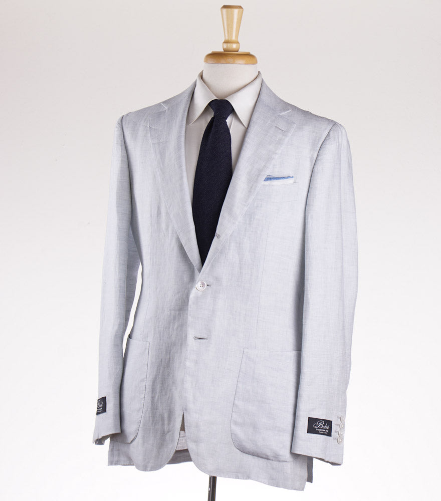 Belvest Pale Blue Herringbone Linen Suit