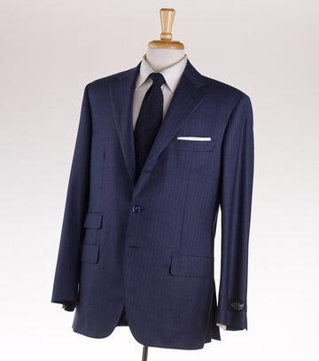 Belvest Slate Blue Striped Wool Suit