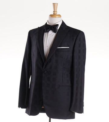 Belvest Black Check Super 150s Wool Tuxedo