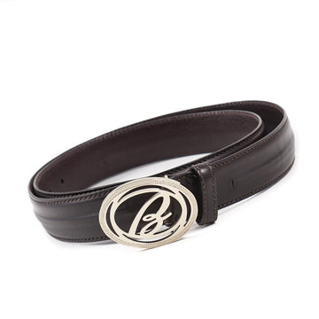 Brioni Leather Belt with Logo Buckle