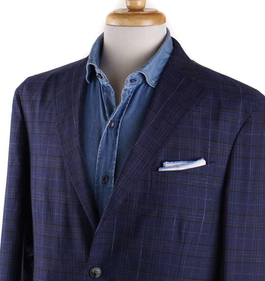 Boglioli Wool-Silk-Linen Sport Coat in Navy Blue Check