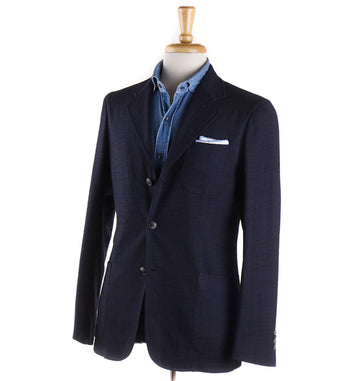 Boglioli Soft Wool Sport Coat in Navy Check