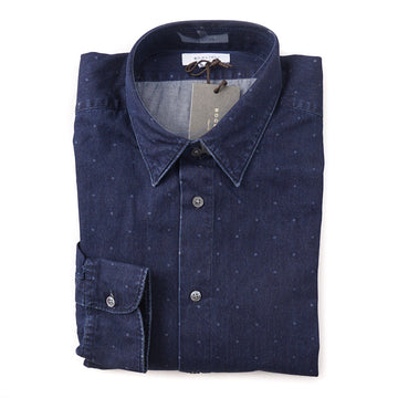 Boglioli Slim-Fit Cotton Shirt in Blue Chambray Dot